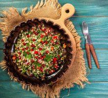 whole grain tabouli salad with pomegranate seeds