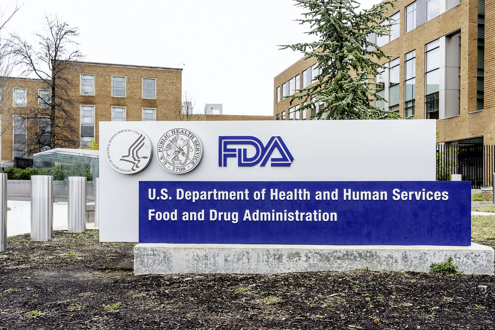 Washington, D.C., USA- January13, 2020: FDA Sign at its headquarters in Washington. The Food and Drug Administration (FDA or USFDA) is a federal agency of the USA.